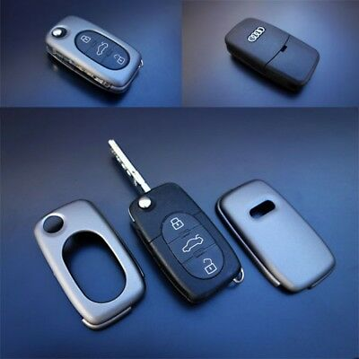 Audi Grey Remote Flip Key Cover Case Skin Shell Cap Fob Protection Bag Hull-