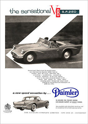 DAIMLER SP250 DART V8 RETRO A3 POSTER PRINT FROM CLASSIC 60's ADVERT