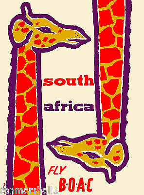 South Africa by Airplane Giraffe Vintage African Travel Advertisement Poster