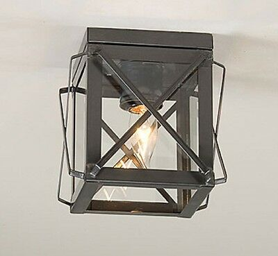 CEILING LIGHT in COUNTRY TIN Single with FOLDED BARS Primitive Fixture USA Made