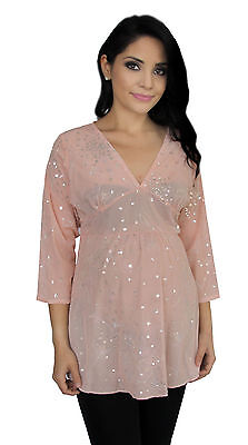 Pastel Pink Sheer Maternity Lace Tunic Long Sleeve Top Detail Light S M L XL