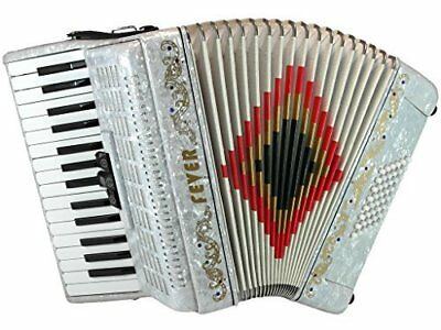 Fever Piano Accordion 3 Switches 30 Keys 48 Bass, White, F3048-WH