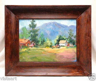 """Old Linda Lynch Oil Painting """"Homes By Mountain"""" in Vintage Wood Frame 19x23"""""""