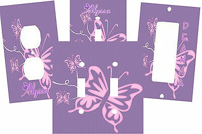 Personalized Pink & Purple Butterfly Art Nursery Light Switch Plate Cover