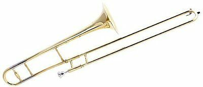 Fever Student Slide Gold Lacquer B Flat Trombone with Case and Mouthpiece