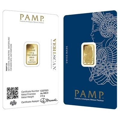 2.5 gram Gold Bar PAMP Suisse Lady Fortuna Veriscan .9999 Fine (In Assay)