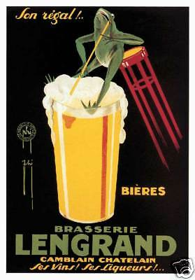 Brasserie Lengrand French beer green frog sipping poster art print SKU3232