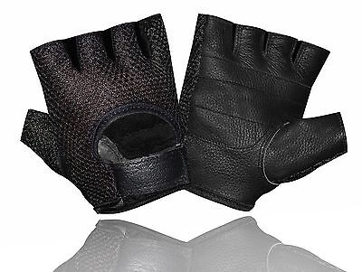 "Leather Mesh Fingerless Men""s Weight Lifting Exercis Gym Wheelchair Black Gloves"