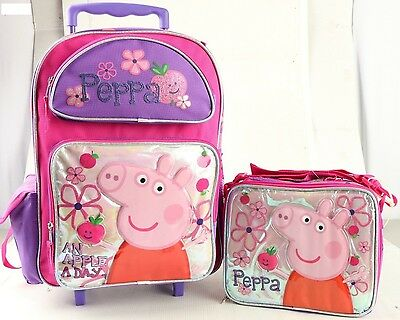 """Peppa Pig & Pals 16"""" inches Rolling Backpack & Lunch Box Girls Licensed - White"""