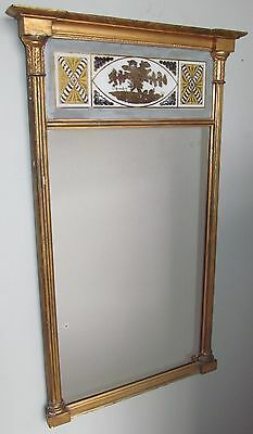Exquisite Early 19Th Century Federal Period  Eglomise Paneled Gold Gilded Mirror