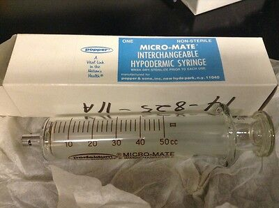MicroMate Syringe 50cc Glass Syringe Popper LUER Interchangeable Research New!