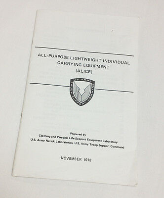 ALICE All Purpose Lightweight Individual Carrying Equipment Book 1973