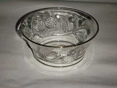"Made In France 2.50"" Clear Glass Bowl With Embossed Vines & Berries Gold Trim"