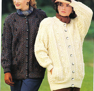 796519790aef6e Knitting PATTERN -Ladies Aran longer length Aran cardigan pattern- fits 32- 42