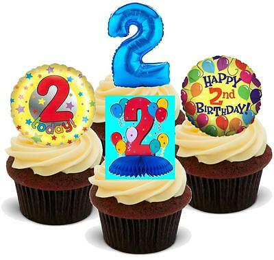 NOVELTY 2ND BIRTHDAY BOY PARTY MIX STAND UP / Icing Edible Cake Toppers 2 Two