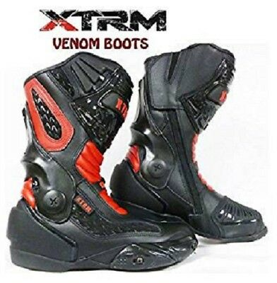 Xtrm Venom New Design Motorcycle Motorbike Sports Race Armour Boots Black/red
