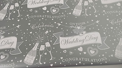 Wedding Day Wrapping Paper Congratualtions Celebrate Gift Wrap x 2 Sheets & Tag