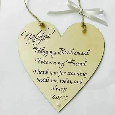Bridesmaid wedding gift favour thank you wooden heart plaque sign shabby chic p