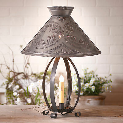 BETSY ROSS COLONIAL TABLE LAMP Country Barn Star Punched Tin Shade Made in USA