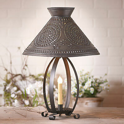 BETSY ROSS COLONIAL TABLE LAMP with Pierced Chisel Pattern Shade in Kettle Black