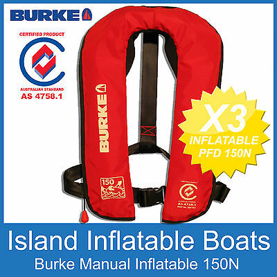 3 x BURKE RED INFLATABLE LIFEJACKET 150N PFD Manual Life Jacket Vest  AS4758.1