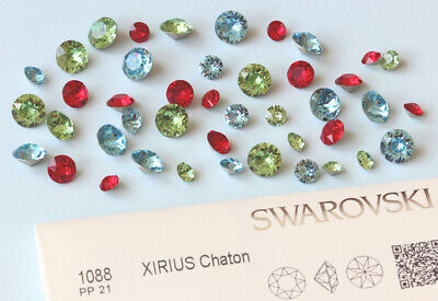 Genuine SWAROVSKI 1028 & 1088 Chatons Foiled Round Stones * Many Colors & Sizes