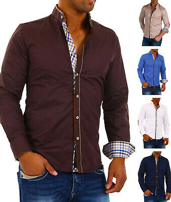 CARISMA Men's plain cotton shirt Stand up Grandad collar Casual Long sleeve.