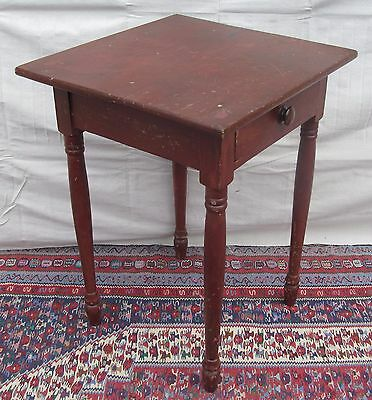 Early 19Th Century Sheraton One Drawer Stand In Original Red Paint