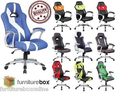 New LUXURY Leather SPORTS/RACING Office Desk Swivel Gaming Computer Chair