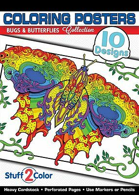 Bugs & Butterflies - Adult Coloring Book (10 Designs)