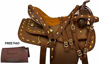 Beautiful Brown 14 15 16 17 Western Synthetic Pleasure Trail Horse Saddle Tack