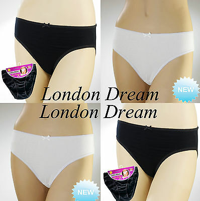6x Women Ladies 100% Cotton Bikini Briefs Black & White Everyday Bikini Briefs