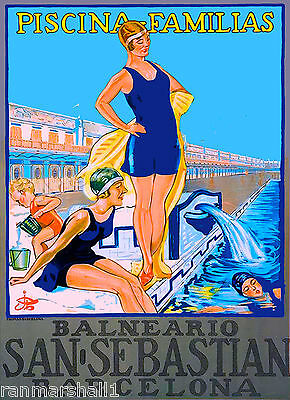 Spain Spanish Barcelona San Sebastian European Travel Art Poster Advertisement