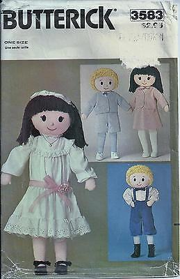 "Vintage Butterick 3583 Pattern 32"" Boy & Girl Doll With Clothes - Uncut"