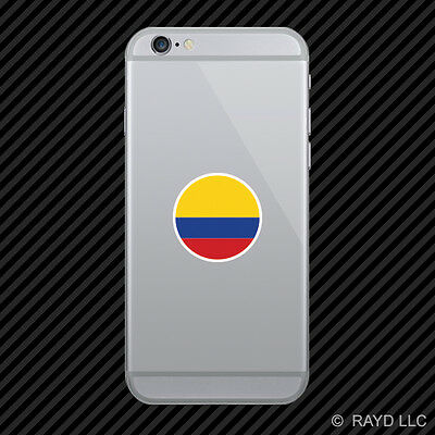 Round Colombian Flag Cell Phone Sticker Mobile Colombia COL CO
