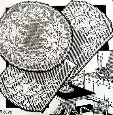 R2096 Vintage Filet RUNNER & DOILY Patterns to Crochet (reproduction)