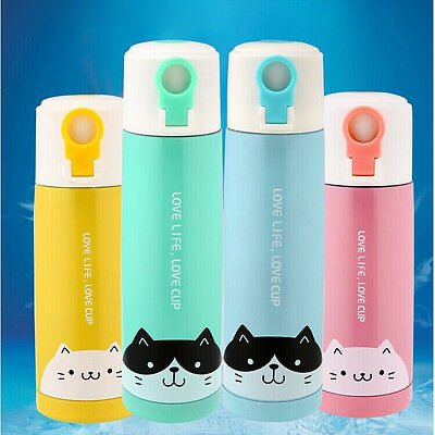 cartoon Cat Stainless Steel Insulated Thermos Coffee Cup Travel Mug Water Bottle