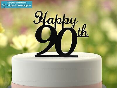 """""""Happy 90th"""" - Black - 90th Birthday Cake Topper - Made by OriginalCakeToppers"""