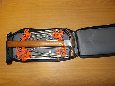 Pyramid 15 Rock Pegs & FREE Hammer Hard Ground Tent Pegs With Zipped Canvas Case