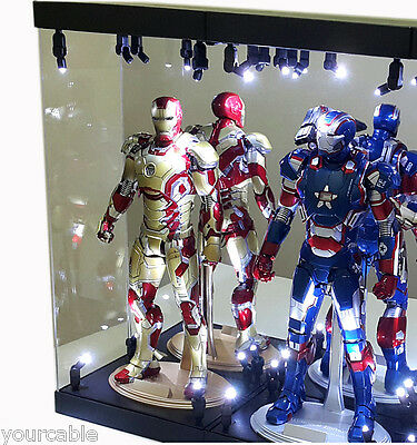 """Acrylic Display Case Light Box for TWO 12"""" 1/6th Scale IRON MAN 3 Action Figure"""