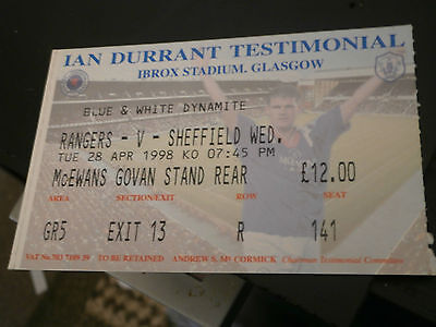 Rangers v Sheffield Wednesday 28th April 1998 Durrant Testimonial Match Ticket