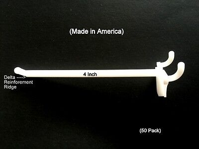 "(50 PACK) 4 Inch White Plastic Peg Hooks For 1/8"" to 1/4"" Pegboard or Slatwall"