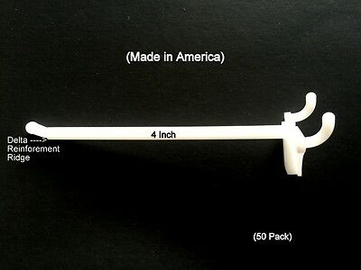 """(50 PACK) 4 Inch White Plastic Peg Hooks For 1/8"""" to 1/4"""" Pegboard or Slatwall"""
