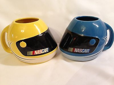 NASCAR Helmet Ceramic Mugs Set of 2 Yellow and Blue