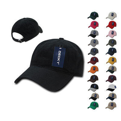 dad68b557f7 DECKY Relaxed Soft Low Crown Dad Caps Hats Washed Cotton Polo Vintage 6  Panel