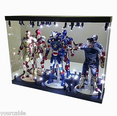"""Acrylic Display Case Light Box for THREE 12"""" 1/6th Scale Avengers Action Figure"""