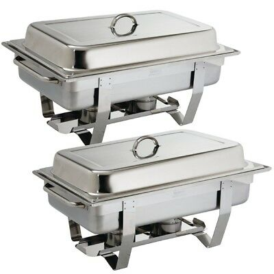 2x Olympia Milan Chafing Dish Twin Pack Hotel Restaurant Catering Food Serving