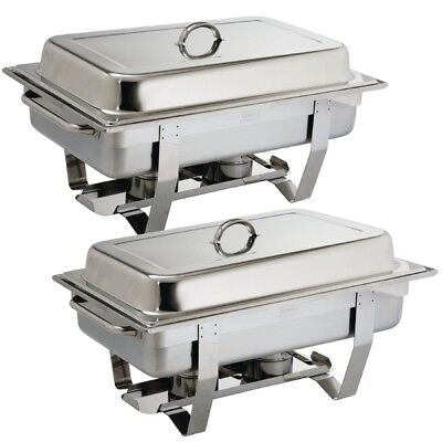 Olympia Milan Chafing Dish 1/1 GN - Pack of 2 | Twin Stainless Steel