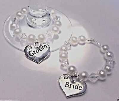 PAIR (2x) BRIDE AND GROOM SILVER WEDDING WINE GLASS CHARMS + BRIDESMAID,BEST MAN