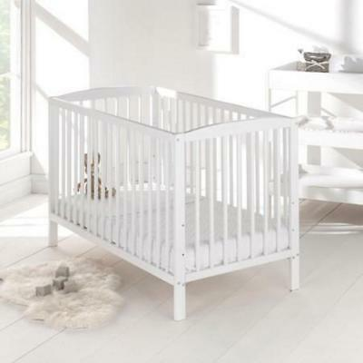 White Cot Bed 120x 60cm & Cotbed Deluxe Mattress, Converts into a Junior Bed